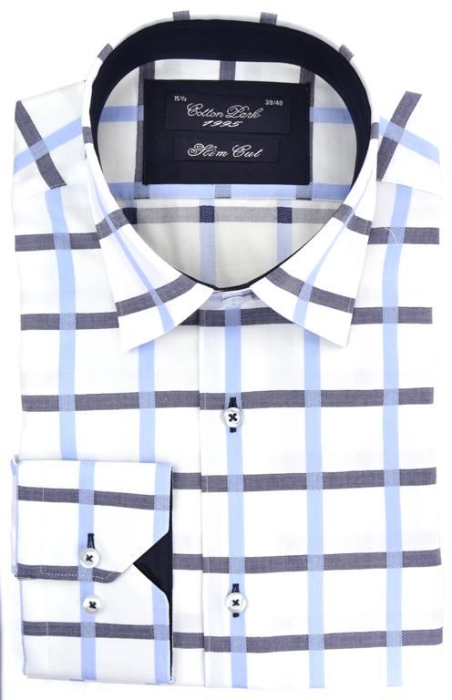 chemise-blanche-tendance-cotton-park-carreaux-bleu-noir
