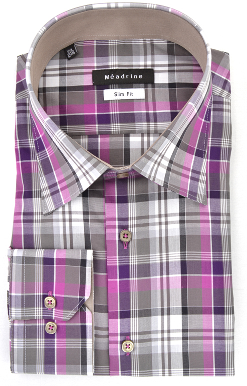 chemise-carreaux-meadrine-mauve-violette-grise