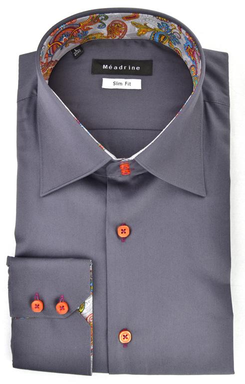 chemise-grise-meadrine-col-italien-opposition-motifs
